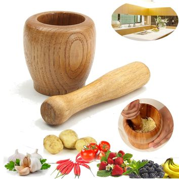 Fashion Gifts Wooden Grinding Bowl Garlic Ginger Mortar and Pestle Mixing Device Kitchen Tool Cookware