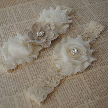 Burlap Wedding Garter, Cream Lace Garter, Cream and Burlap Garter- PRIORITY SHIPPING USA