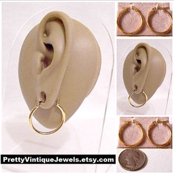 """Monet Thick Tube 1"""" Hoops Pierced Post Stud Earrings Gold Tone Vintage 25mm Round Smooth Polished Large Open Dangle Rings"""