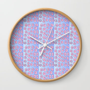 pink polka dot 2- polka dot,pattern,dot,polka,circle,disc,point,abstract,minimalism Wall Clock by oldking