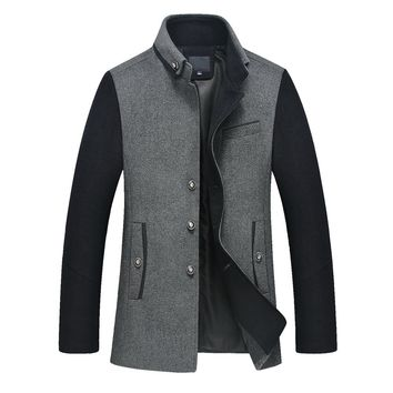 Winter Stand Collar Medium Long Wool Cashmere Overcoat Single Breasted Thick Warm Wool Coat For Men