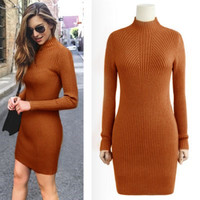 High Quality New Women Winter Casual Dress Solid Semi Turtleneck Long Sleeve Thick Warm Vestido Bodycon Knitted Party Dress