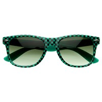 Retro 1980's Check Print Horned Rim Sunglasses 2941