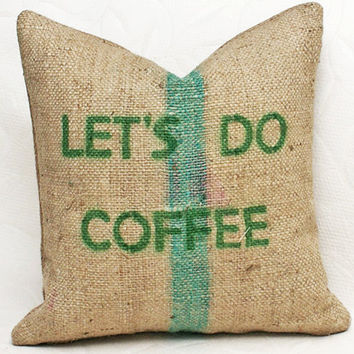 Bean Sack Pillow  Unique Coffee Burlap Bag by PillowThrowDecor