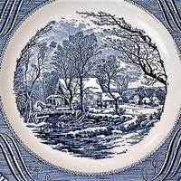 Mid Century Currier and Ives Dinner Plate The Old Grist Mill Americana Scene Vintage Kitchen Decor Country Farmhouse Cottage Royal Ironstone