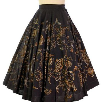 "Vintage Hand Painted Cotton Circle Skirt 1940s Mexico 24"" Waist Londy Of Mexico"