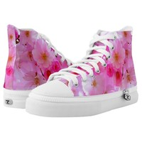 Pink flowers printed shoes