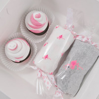 Baby Girl Gift Washcloth Cupcakes Candies Box 3 months Flamingo