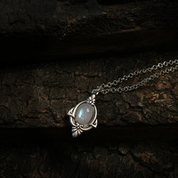 Aria Antique Silver Moonstone Necklace - Silver Rainbow Moonstone Necklace - Antique Moonstone Pendant Necklace
