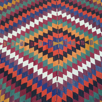 "COLORFUL Long Kilim Rugs Vintage Turkish Area Rug Kilim Carpet Runner, Handwoven Wool Rug Kilim, Zigzag Design,Vintage Rug, 54, 3""x124, 4"""