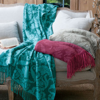 Damask Reversible Throw - Reversible Throw, Reversible Blanket, Damask Throw | Soft Surroundings