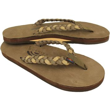 Twisted Sister Single Layer Premier Leather Sandal Dark Brown and Sierra Brown by Rainbow Sandals