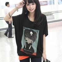 Kawaii Little Cute Girl Loose Batwing Sleeve T-shirt - White or Black from Tobi's Finds