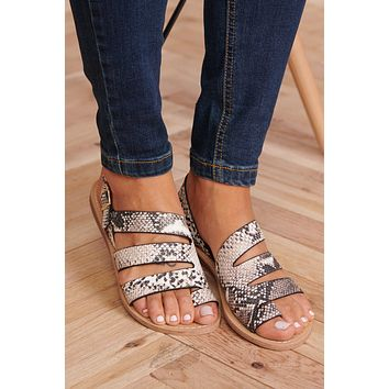 Strappy Perfection Sandals (Beige/Brown Snake)