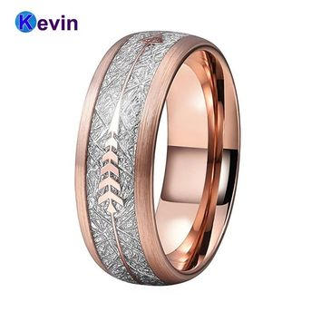 Men Women Wedding Band Tungsten Ring Rose Gold With Steel Arrow And White Meteorite Inlay New Arrivals