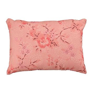 "Coral Floral Outdoor Accent Pillow 16"" x 12"""