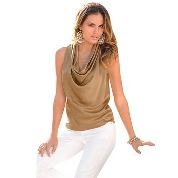 Elegant Sexy Women's Sleeveless Chiffon Blouse.    Available in Coffee, White and Red.    Sizes Small to XL.    ***FREE SHIPPING***