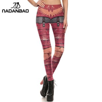NADANBAO New Women leggings 3D Printed Red METAL Armour leggins chainmail leggins pant legging for Woman