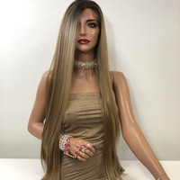 """Blond Balayage Long Straight Hair LACE Front Wig 40""""  Sanchez 0119 32"""