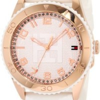 Tommy Hilfiger Women's 1781121 Sport Rose Gold Toned White Silicon Watch: Watches: Amazon.com