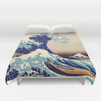 Katsushika Hokusai The Great Wave Off Kanagawa Duvet Cover by Art Gallery