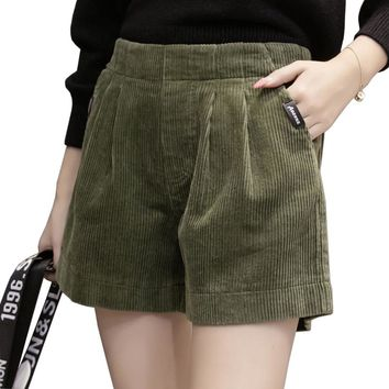S-5XL Large Size Autumn Winter Corduroy Shorts Women Elastic High Waist Loose Wide Leg Shorts Female High Quality Short Feminino
