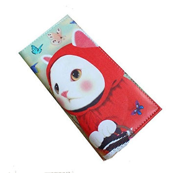 "Little Red Riding 'CAT"" Fold Over Snap Wallet (zipper, Cards, 5 Compartments)"