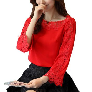 New Chiffon Blouse Sexy Hollow Out Fashion Women Blouses Elegant Shirt Women Tops Loose O-Neck Lace Blouse Shirts Plus Size 2XL