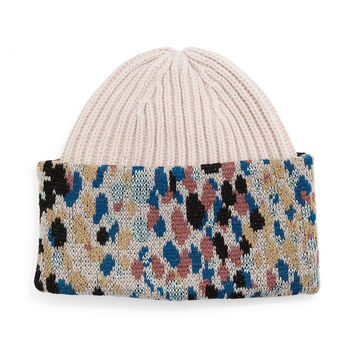 Knit Speckled-Cuff Hat, Size: MEDIUM,