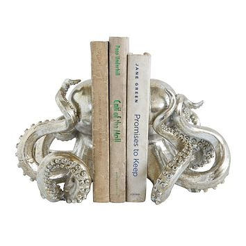Octopus Shaped Silver Bookend Set