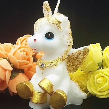 Unicorn Pegasus Shaped Candles For Kids Birthday Party Supplies Fondant Cake Mold Candy Resin Molds Cartoon Mould Soap Silicone