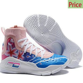 2018 New Arrival Mens Under Armour Stephen Curry 4 Custom Floral White Pink Blue Basketball Shoe sneaker