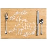 Bon Appetit French Floral Printed Bamboo Placemat Set - 4