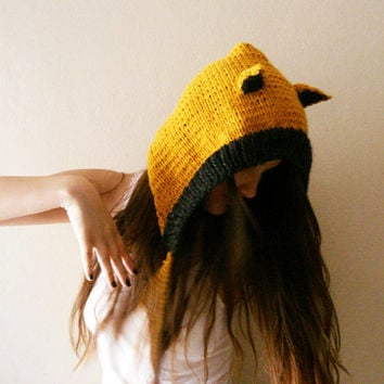 Hand Knitted black and mustard yellow cat ears hat, fox hood, animal hats for adults