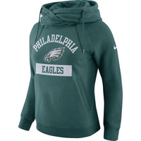 Women's Philadelphia Eagles Nike Midnight Green Tailgate Funnel Pullover Hoodie