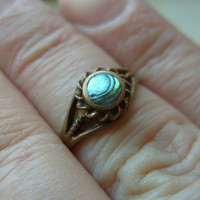 FREE SHIPPING Vintage Brass Ring with Abalone Shell - Size 7 1/2
