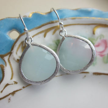 White Blue Earrings Silver Plated Large Pendant - Wedding Jewelry - Bridesmaid Jewelry - Bridal Jewelry