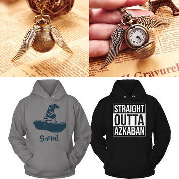 Ultimate Muggle Hoodies Bundle - With a Bonus Golden Snitch Necklace/Pocket Watch