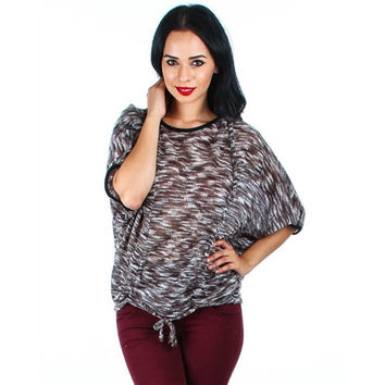 Fleece Dolman Sleeve Sweater With Cinched Front