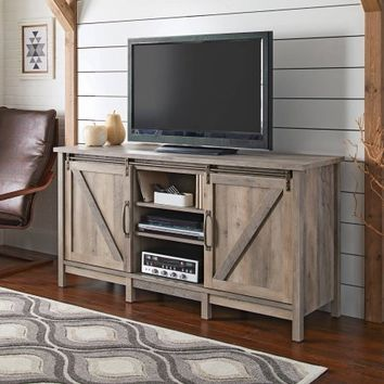 """Better Homes and Gardens Modern Farmhouse TV Stand for TVs up to 60"""", Rustic Gray Finish - Walmart.com"""