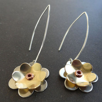 Sterling Silver and Brass Flower Earrings with Copper Eyelets