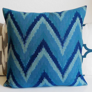 Navy, teal, turquoise blue ikat chevron decorative pillow cover