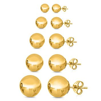 5 Pair Ball Stud Set  Earring
