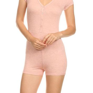 Short Sleeve Button Trim V Neck Mini Short Romper Bodysuit