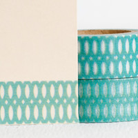 Bright Teal Oval Pattern Washi Tape, Simple Pattern Teal and White Decorative Tape 15mm x 10m