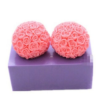 Rose  Ball Soap Mold Flexible Silicone Mould For  Soap Candle Candy Cake Fimo Resin Crafts