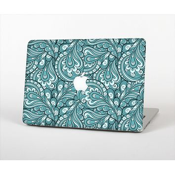The Teal Floral Paisley Pattern Skin Set for the Apple MacBook Air 11""