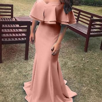 New Pink Cascading Ruffle Off Shoulder Backless Mermaid Cocktail Prom Wedding Party Maxi Dress