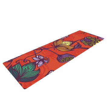 "Gill Eggleston ""Garden Blooms Hot Orange"" Red Floral Yoga Mat"