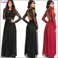 FeelinGirl Women's Fashin  Lace Print Top Evening Party Prom Dress Sexy Backless Long Maxi Summer Spring Dresses = 1697122436